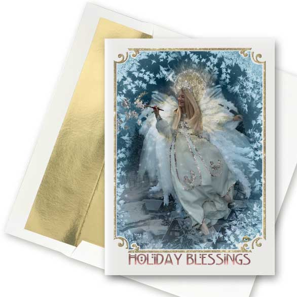 Frost Faerie Christmas Angel Greeting Card