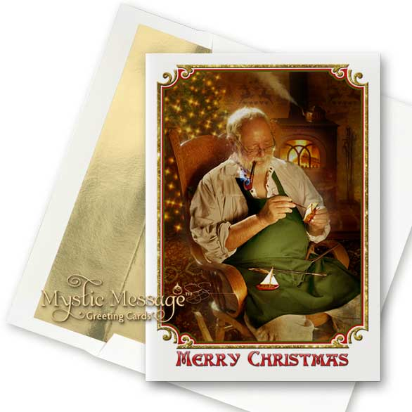 Workshop Santa Holiday Greeting Card
