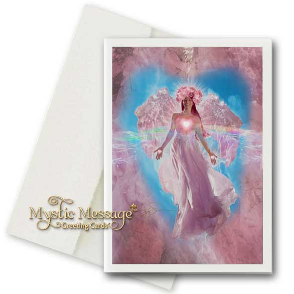 Rose Quartz Crystal Angel Greeting Card